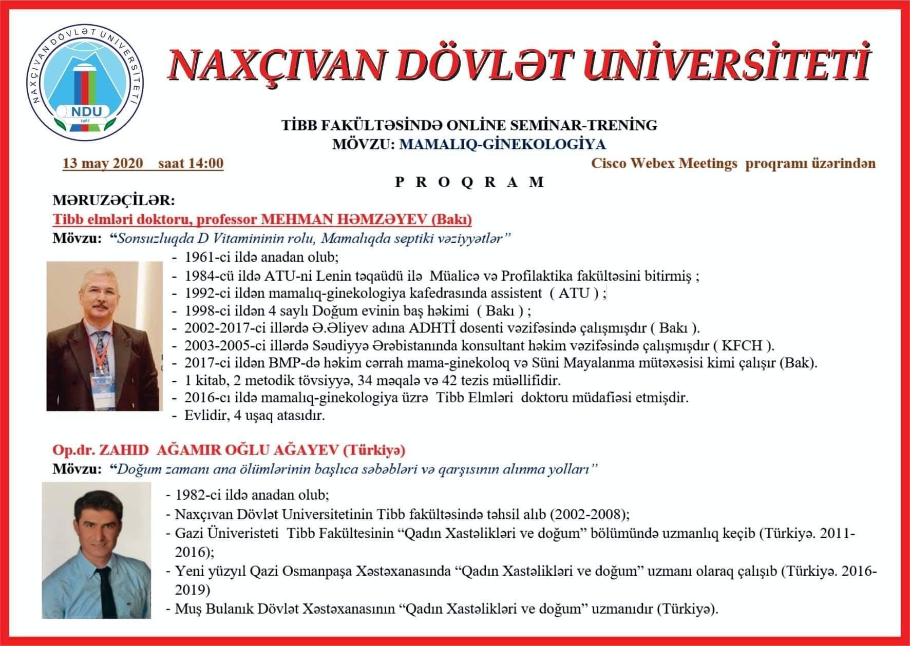 Naxçıvan Dövlət Universitetinin  Tibb fakültəsi  onlayn seminarlardan faydalanır